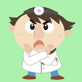Cartoon doctor with a denial of action Stock Images