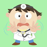 Cartoon doctor with a denial of action. Doctor with a denial of action Royalty Free Stock Photos