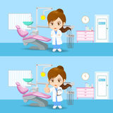 Cartoon doctor dentist woman Stock Images