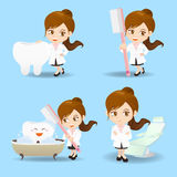 Cartoon doctor dentist woman Royalty Free Stock Image