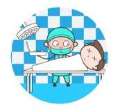 Cartoon Doctor Doing Postmortem of Dead Body Vector Stock Image