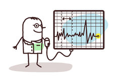 Cartoon doctor with electrocardiogram Royalty Free Stock Images