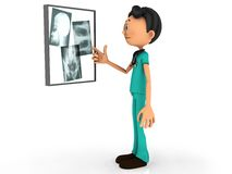 Cartoon doctor examining x-ray plates. Royalty Free Stock Photography