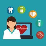 Cartoon doctor female laptop heart health icons Royalty Free Stock Photos