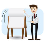 Cartoon doctor flip paper on presentation board Stock Images