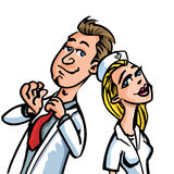 Cartoon doctor flirting with a nurse Stock Images