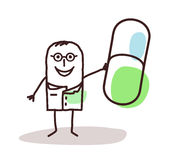Cartoon doctor with good m�dicine capsule stock images