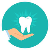 Cartoon doctor hand and healthy tooth Royalty Free Stock Photos