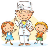 Cartoon doctor with happy little children, a boy and a girl Stock Images