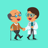 Cartoon doctor helping old man to walk. For design stock illustration