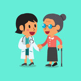 Cartoon doctor helping old woman to walk Royalty Free Stock Photography