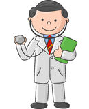 Cartoon Doctor holding blank sign and stethoscope Stock Images