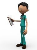 Cartoon doctor holding a clipboard. Stock Photos