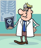 Cartoon doctor illustration with xray Stock Photography