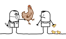 Cartoon doctor & man with sick chicken and Avian Flu. Vector cartoon doctor & man with sick chicken and Avian Flu Stock Photos
