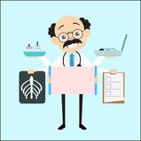Cartoon Doctor with Many Medical Equipments Vector Stock Image