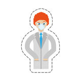 cartoon doctor with mask coat clinic Stock Photography