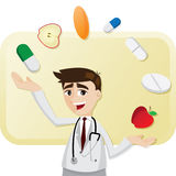 Cartoon doctor with medicine juggling. Illustration of cartoon doctor with medicine juggling Royalty Free Stock Image