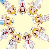 Cartoon doctor and nurse card Royalty Free Stock Photo