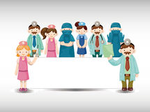 Cartoon doctor and nurse card Royalty Free Stock Photography
