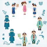 Cartoon doctor and nurse card Royalty Free Stock Photo