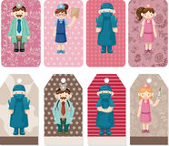 Cartoon doctor and nurse card Royalty Free Stock Photos
