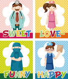 Cartoon doctor and nurse card Royalty Free Stock Images