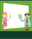 Cartoon doctor and nurse card Stock Photo