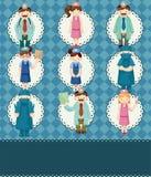 Cartoon doctor and nurse card Stock Photos