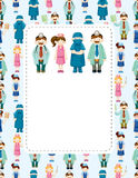 Cartoon doctor and nurse card Royalty Free Stock Image
