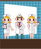 Cartoon doctor and nurse card card Stock Photo
