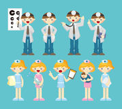 Cartoon doctor and nurse icon Stock Photos
