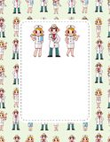 Cartoon doctor and nurse speech card Stock Photos
