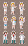 Cartoon doctor and nurse stickers Royalty Free Stock Image