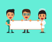 Cartoon doctor and nurses holding board for presentation Stock Images