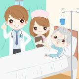 Cartoon doctor with old man. In hospital Stock Photo