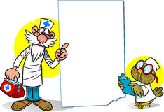 Cartoon doctor and owl. The illustration shows a cartoon doctor with a medical kit and an owl as a nurse at the background empty the poster. Illustration on Stock Image
