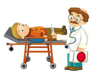 Cartoon doctor and patient - isolated Stock Photo
