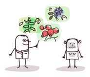 Cartoon doctor and plants medicine Stock Image