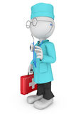 Cartoon doctor with  red suitcase Royalty Free Stock Photography