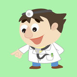 Cartoon doctor refers to the lower left Stock Image