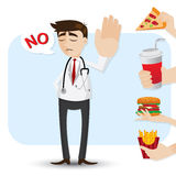 Cartoon doctor refuse junk food. Illustration of cartoon doctor refuse junk food in healthcare concept Stock Photography