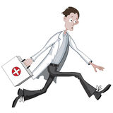 Cartoon doctor running hurriedly with case Royalty Free Stock Photos