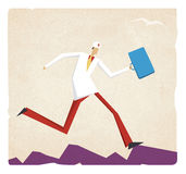 Cartoon doctor running with a suitcase Royalty Free Stock Photos