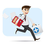 Cartoon doctor in rush hour Stock Images