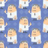 Cartoon doctor, seamless. Seamless background with doctors with first-aid kits and head mirrors, cartoon characters on blue abstract pattern Stock Photography