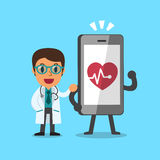 Cartoon doctor and smartphone Royalty Free Stock Photos