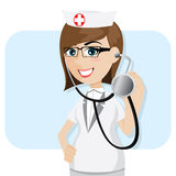 Cartoon doctor with stethoscope Stock Photo