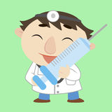 Cartoon doctor with a syringe Royalty Free Stock Images