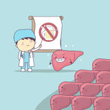 Cartoon doctor teach liver. To be health, great for health care concept Royalty Free Stock Photos